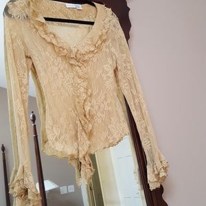 Gold ruffled lace blouse